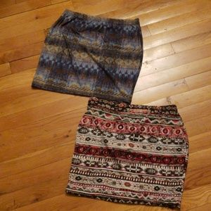 Tribal print mini skirts